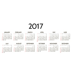 Simple 2017 year calendar vector image vector image