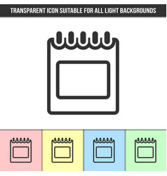simple outline transparent calendar icon vector image
