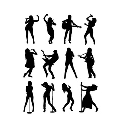 Singer Silhouette vector image vector image