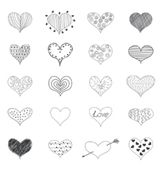 sketch romantic love hearts retro doodles icons vector image