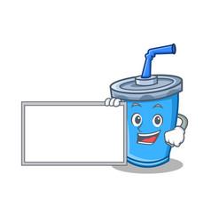 Soda drink character cartoon with board vector