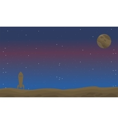 Space with rocket of landscape vector