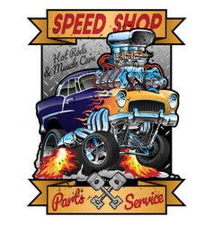 Speed shop hot rod muscle car parts and service vector