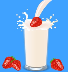 Strawberry milkshake vector