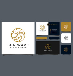 sunset wave logo design template and business card vector image