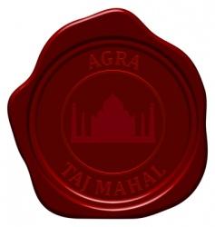 Taj Mahal wax seal vector image