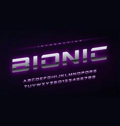 technology metallic glowing english alphabet vector image