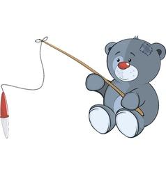 The stuffed toy bear cub the fisherman Cartoon vector