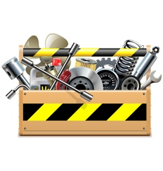 Toolbox with car spares vector