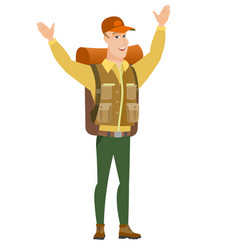 tourist standing with raised arms up vector image