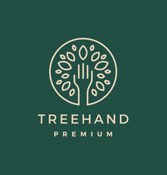 Tree hand leaf gold green logo icon vector