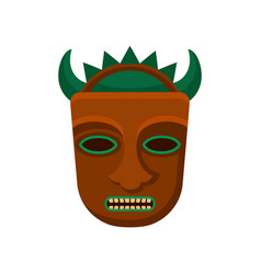 Tribal tiki mask with green horns and big teeth vector
