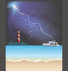 Tropical lighthouse on rocky outcrop vector