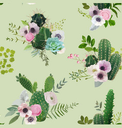 Tropical summer cactus botanical background vector