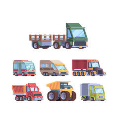 trucks collection heavy industry and cargo vector image