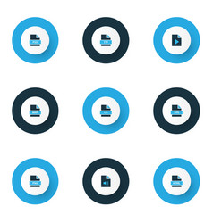 Types icons colored set with file bmp file code vector
