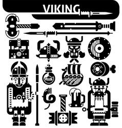 Viking Black White Icons Set vector image