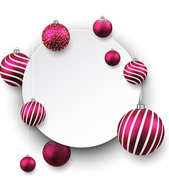 White paper gift card with magenta balls vector