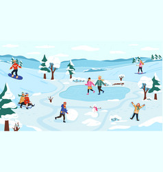 winter outdoor activity snow games on fresh vector image