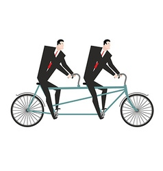 Businessman cycling Business team goes on bike vector image vector image