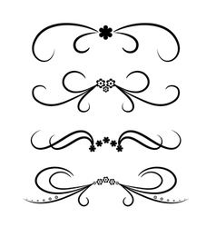 Calligraphic design element set with flowers vector image