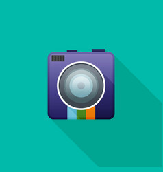 Camera flat icon for web vector