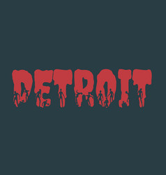detroit city name and silhouettes on them vector image vector image