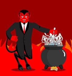 Devil boil sinners boiler Demon cooking Big black vector image