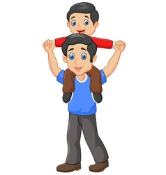 Father giving his son piggyback ride isolated vector image