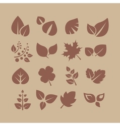 Leaves and Berries Silhouette Set vector image vector image