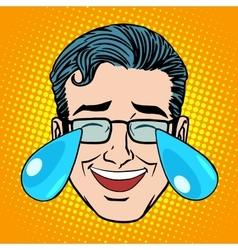 Retro Emoji tears joy man face vector image