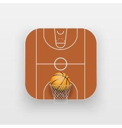 Square icon of basketball sport vector image vector image