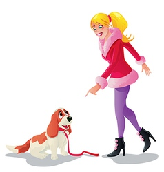 a girl with her dog vector image