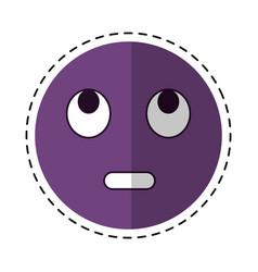 cartoon eye rolling emoticon funny icon vector image vector image