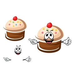 Chocolate cupcake with cream and sprinkles vector