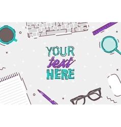Flat design business office top view desk vector image vector image