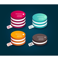 Four colored paper circles with place for your own vector image