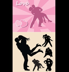 Romantic love couple silhouette 1 vector image vector image