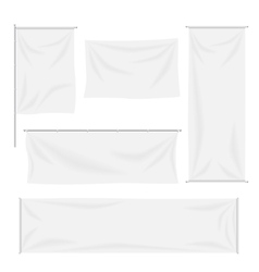 White flags and textile banners with folds vector image