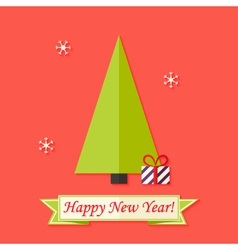Happy New Year Card with Green Christmas Tree over vector image vector image