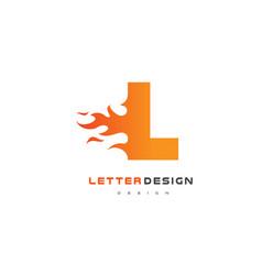 l letter flame logo design fire logo lettering vector image vector image