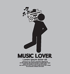 Man With Radio Music Lover Concept vector image