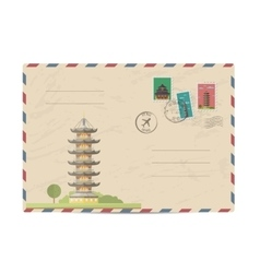 Vintage postal envelope with China stamps vector image