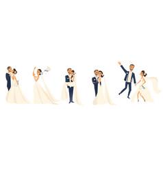happy wedding couple set cartoon bride and groom vector image vector image