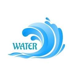 Sea wave symbol with water splashes vector image