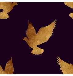Seamless pattern with golden birds vector image vector image