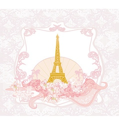 vintage retro Eiffel in Paris card vector image
