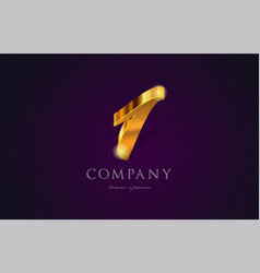1 one gold golden number numeral digit logo icon vector