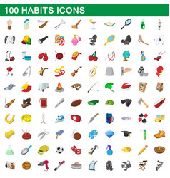 100 habits icons set cartoon style vector image
