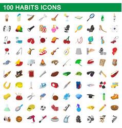 100 habits icons set cartoon style vector